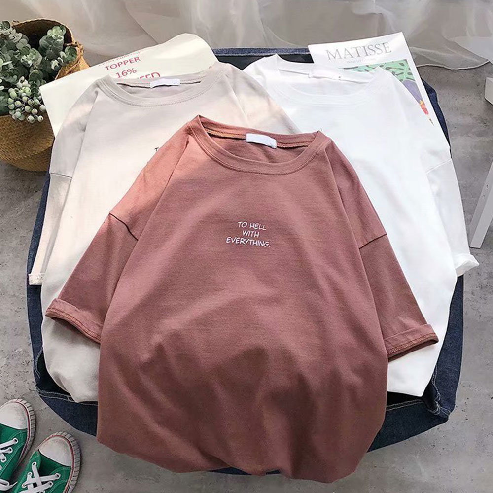 2021 Korean Style Leisure T Shirt Women Summer New Oversized Solid Tees 7 Color Casual Loose Tshirt Korean O Neck Female Tops