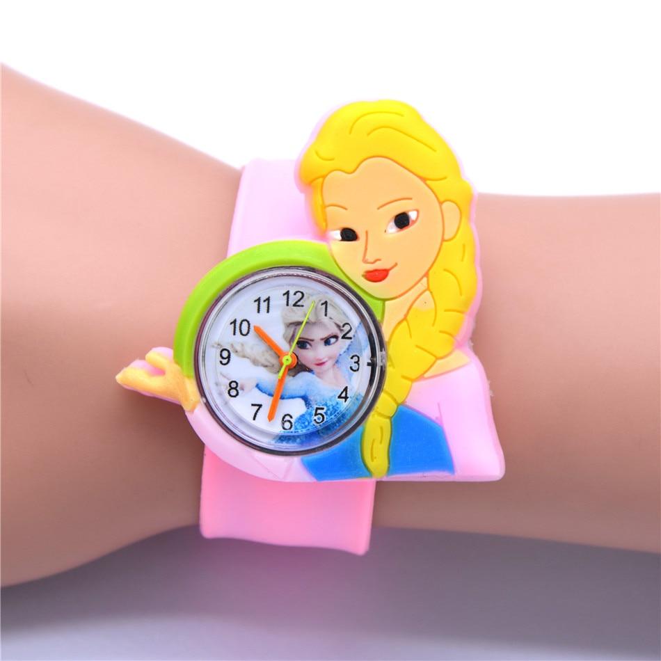 Girls Toy Clock Elsa Watch Pink Rubber Watches 22cm Slap Toy Belt Children Kids Quartz Wrist Watches