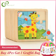 3D Wooden Jigsaw Puzzles for Children Kids Toys Baby Educational Puzles Buy 4Pcs Get 1Pc DIY Graffitti Bag Free GYH(China)