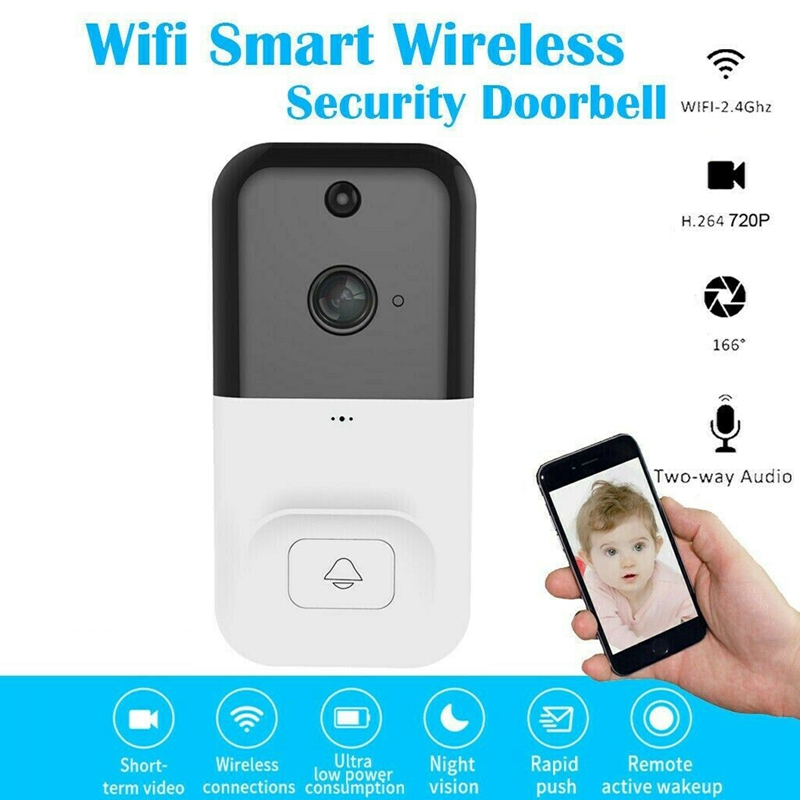 Smart Wireless Wifi Video Doorbell 720P Intercom Phone Call Door Bell Camera Infrared Remote Record Support TF Card
