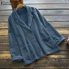 Autumn Jackets Coats ZANZEA Vintage Corduroy Women Outwear Chaqueta Long-Sleeve Lapel-Neck