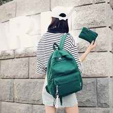 Pure colour student Canvas Shoulder Bag Girl large capacity schoolbag campus small fresh Backpack colour block zippers canvas backpack