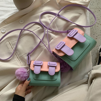 Contrast Color Mini PU Leather Crossbody Bags For Women 2020 Summer Shoulder Handbags Female Cross Body Bag With Hair Ball