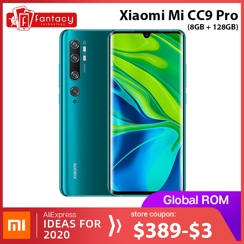 Global Rom Xiaomi Mi CC9 Pro 8GB RAM 128GB ROM Snapdragon 730G Phone 108MP Penta 5 Cameras 6.47'' AMOLED Curved Screen 5260mAh