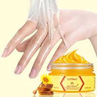 Leite mel Nutrir Hidratante Clareamento Da Pele Cuidados Máscara Mão do Cuidado Da Mão Esfoliantes Calos Mão Filme Esfoliante 110g