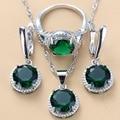 Silber 925 Trendy Schmuck Sets Runde Grün Zirkonia Halsketten Anhänger Ohrringe Und Ring 3 Stück Sets Für Frauen Kostüm