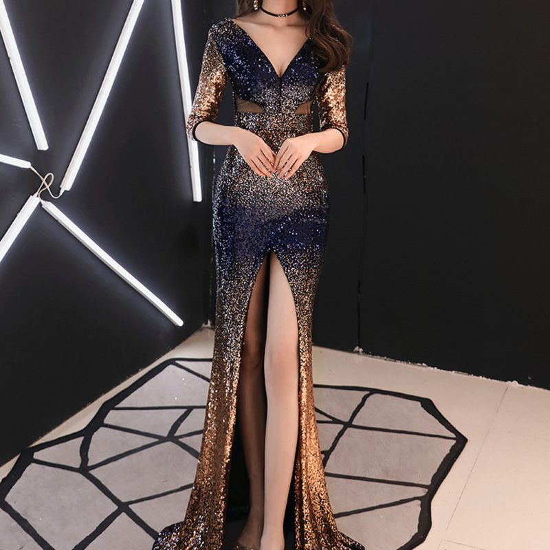 2020 Real Vestido De Noiva Evening Dress Female Fall 2020 New Sexy Party Atmosphere Of High-end Luxury Socialite Fishtail Skirt