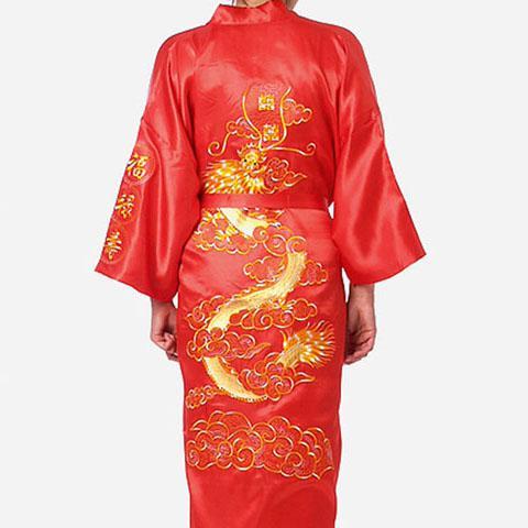 Большой размер 3XL халат для мужчин вышивка платье с драконами ночное белье мягкое атласное Lounge Ночная рубашка пижамы сексуальное свободное повседневное кимоно платье - Цвет: Red Robe