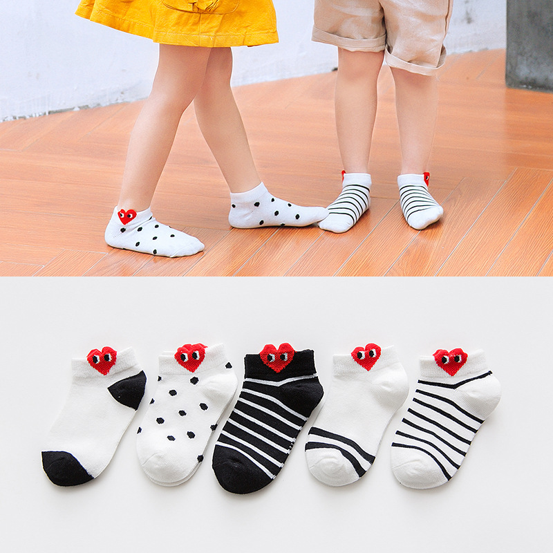 CHILDREN'S Socks Cotton Socks Spring And Summer Korean-style Cute Dotted Stereo Heart Low-Cut No-show Socks Men And Women Baby L