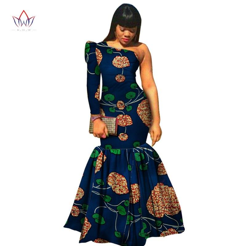 Африканская одежда для женщин, Дашики, Vestidos, африканские Базен риче, платье для женщин, хлопок, принт, Русалка, длинное платье, WY346