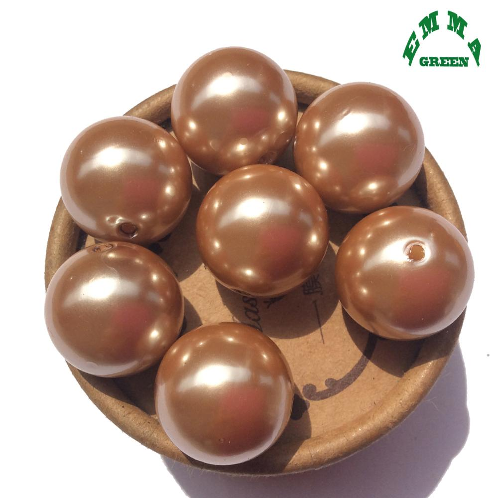 Pearl Beads For Kids Bubblegum Beads Acrylic Beads Round Abs Pearls Beads For DIY Jewelry Making A32 8mm To 20mm Brown Pearls
