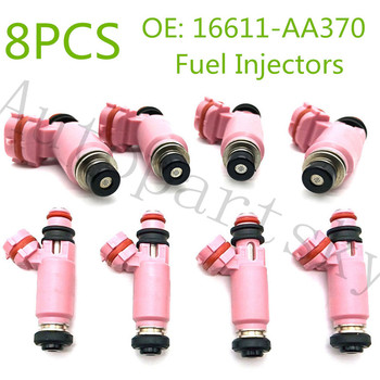 [from USA to USA] 8PCS 195500-3910 16611-AA370 Fuel Injectors Nozzle Pink 565cc For Subaru STI WRX Forester 1955003910 Auto Part