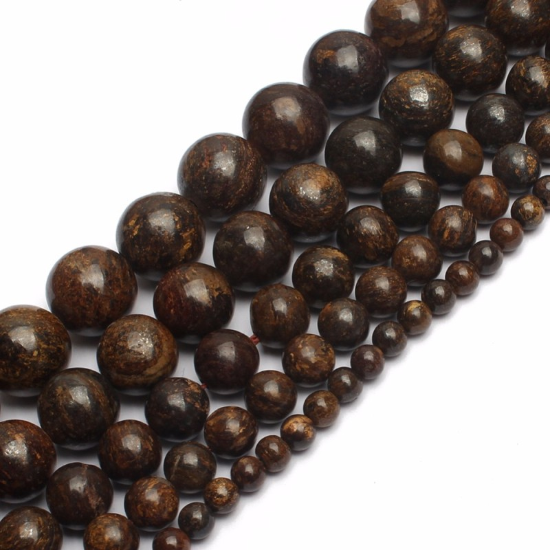 Natural Bronzite Stone Beads 4 6 8 10 12mm Round Loose Stone Beads For Jewelry Making DIY Charm Men Bracelets Necklace 15 Inch