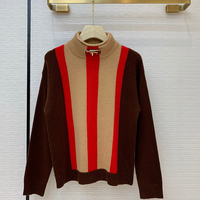 Women Striped Sweater Fall Casual Turtleneck Long Sleeve Sweater Pullvoers High Quality Knit Cashmere Sweater