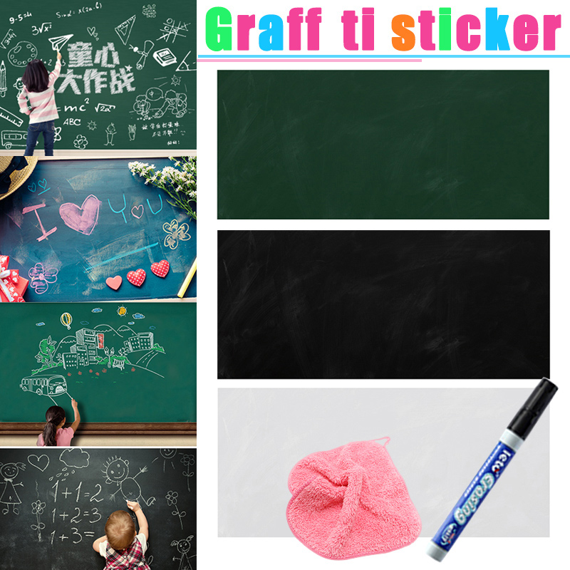 Self-adhesive Dry Wipe Blackboard Chalkboard White Board Marker Graffiti Wall Sticker School Office Message Board 45*100CM