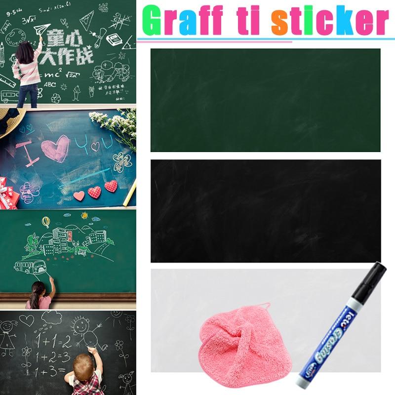 Self-adhesive Dry Wipe Blackboard Chalkboard White Board Marker Graffiti Wall Sticker School Office Message Board 45*100CM