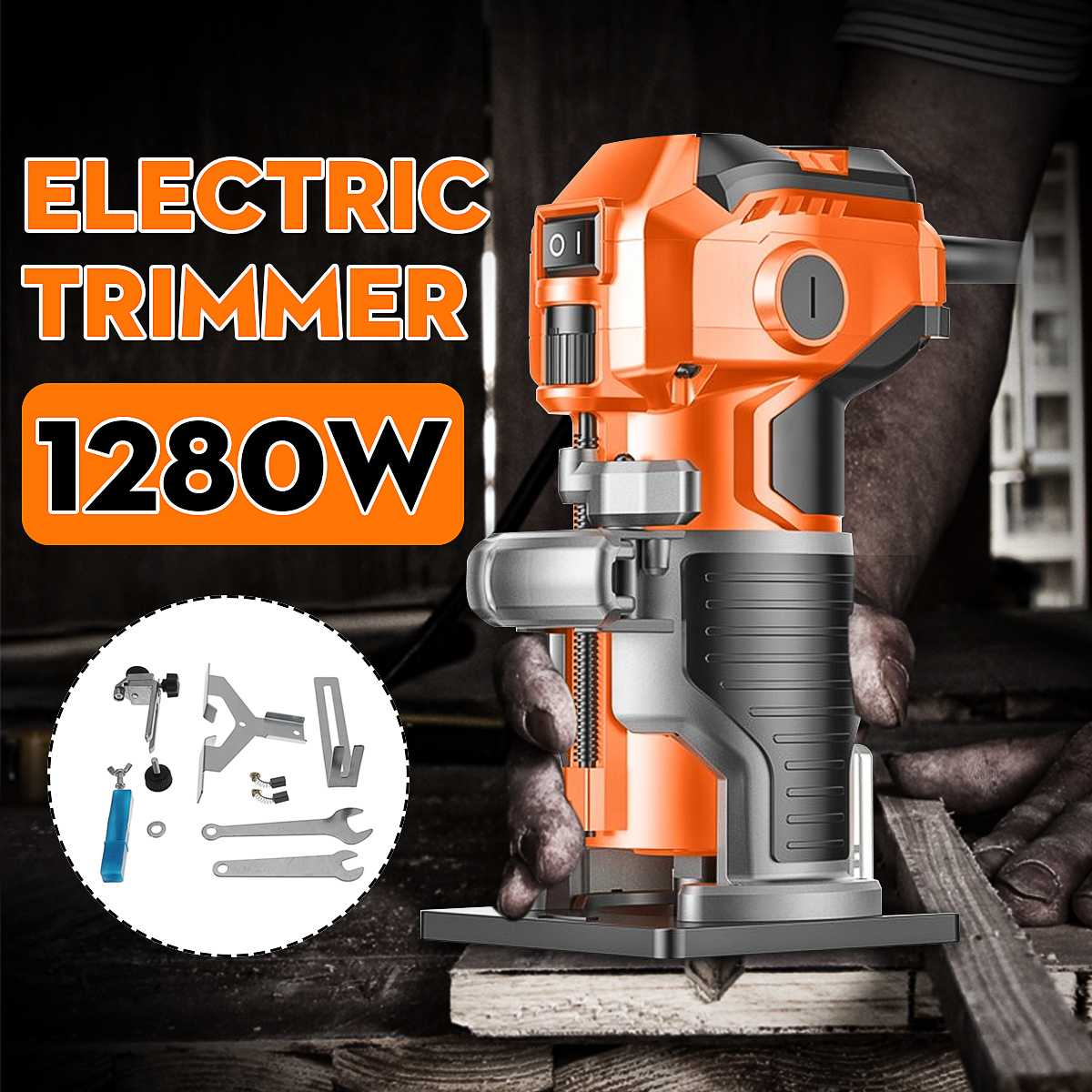 1200W Wood Electric Trimmer Electric Laminate Edge Trimmer Engraving Carving Trimming Machine With Woodworking Router Drill Bits