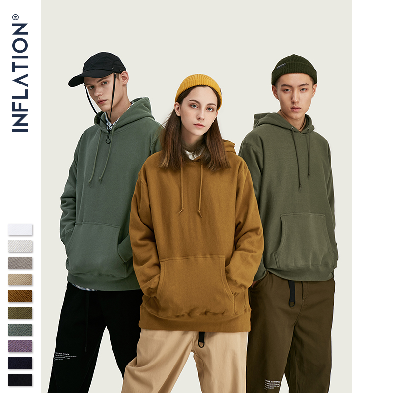 INFLATION FW 2019 Dropped Shoulders Men Hoodies In Pure Color Men Basic Oversized Men Hoodies Autumn Winter Couple Hoodies 9689W