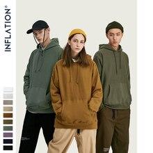 Inflação fw 2020 ombros caídos hoodies masculinos em cor pura básico oversized hoodies masculinos outono inverno casal hoodies 9689 w