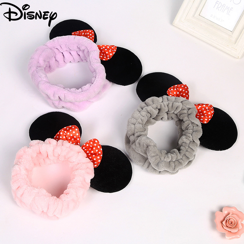 2020 Fashion Disney Minnie Women Hairband Lovely Sweet Bowknot Hair Band Beauty Make Up Headband Baby Girls Soft Wash Face Bands
