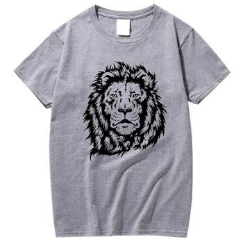 XIN YI Men's100% cotton short sleeve lion print cool men T shirt casual loose men tshirt o-neck t-shirt male men tee shirts men dog print tee
