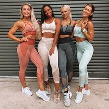SVOKOR dikişsiz spor elbise Patchwork Net iplik eşofman kadın kolsuz Yoga seti spor salonu uzun kollu giyim spor seti