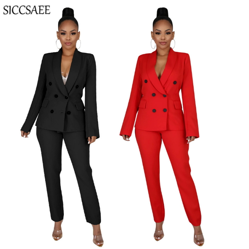 2020 Office Lady Work Wear Solid Color Blazer And Pants Matching Sets Formal Clothing Sweat Suit Sexy Casual Two Piece Set Black