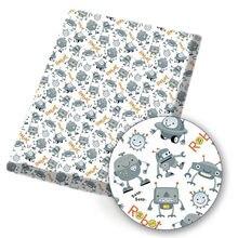 Ibows poliéster tecido de algodão robô bonito homem tecnologia tema impresso tecido costura pano casa têxtil vestuário 45*145cm 80 g/pc