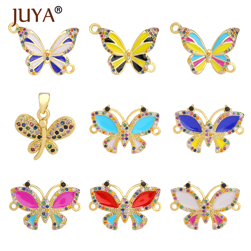 JUYA Copper Charm Colorful Butterflies Connectors Necklace Pendant Connectors for Women Bracelets Jewelry Making Supplies