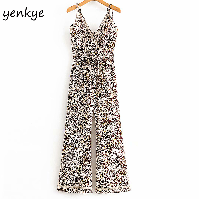 Vintage Leopard Jumpsuit Women V Neck Sleeveless Sling Sexy Jumpsuits Summer Romper Long Overalls  DWDD60310