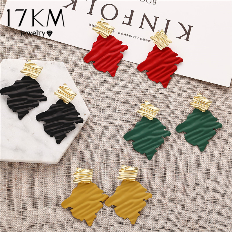 17KM Elegant Geometric Square Drop Earrings For Women Vintage Irregular Alloy Gold Red Green Earring Female Jewelry 2020 Brincos