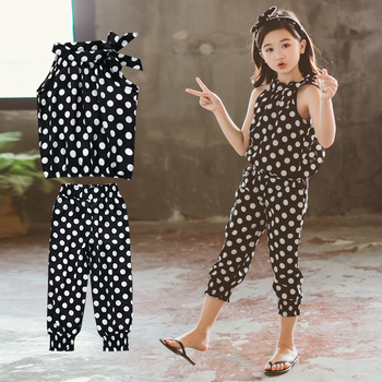 Children Clothing Sets 2020 Summer Girls Sports Suit Cotton Dot Sleeveless Tops+Pants 2Pcs Teen Girls Clothes 4 6 8 10 12 Years new spring autumn girls clothing sets kids sports suit casual girls cartoon t shirt pant 2pcs children clothes 4 6 8 10 12 years