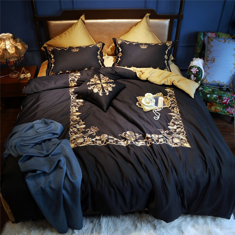 Golden Embroidery Duvet Cover Set Black White Premium Egyptian Cotton Bedding Set Golden Bed Sheet Set Queen King Size 4/7 Pcs