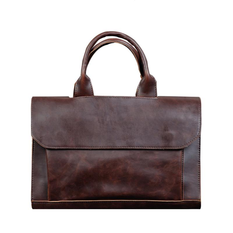 2019 New Style Fashion Business Shoulder Bags Laptop Bag Crazy Horse Leather Handbag High Quality Male Large Capacity
