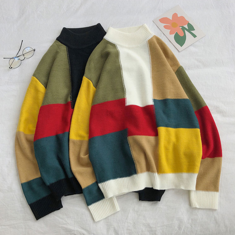 Winter Contrast Color Sweater Men's Warm Fashion Casual O-neck Sweater Pullover Men Streetwear Hip Hop Sweater Male Clothes