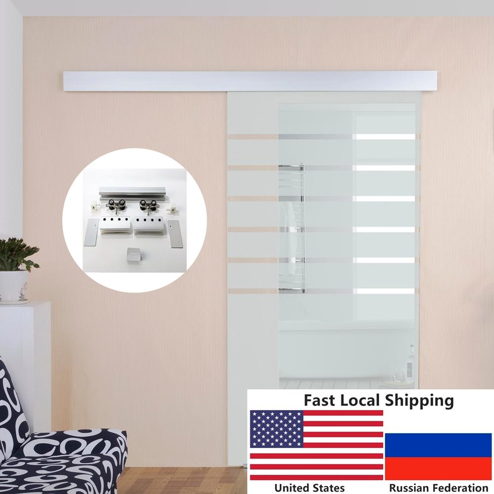 6.6 FT Aluminium Alloy Brushed Shower Glass Sliding Barn Door Hardware Hidden Track With Decorative Cover