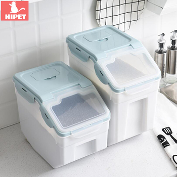 10kg/15kg Large Dog Food Storage Container Cat Box Moisture-proof Keep Fresh Pet Bucket Rice With Roller