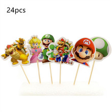 Birthday Cake Decor Super Mario Cake Stand Topper Wrapper Flag Boy Kids Birthday Party Supplies BaBy Shower Toys Party Tableware