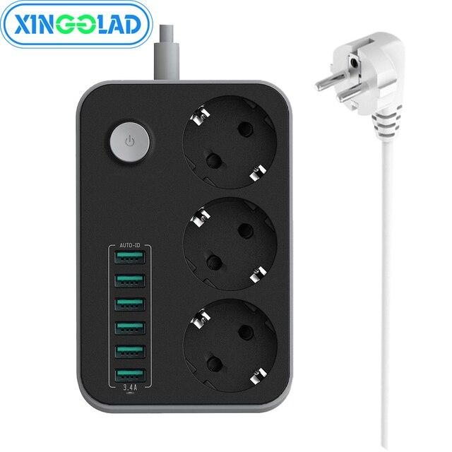 אלקטרוני כוח רצועת שקע האיחוד האירופי Plug 3 יציאות AC 6 USB טעינת יציאות עומס יתר הגנה הארכת 1.5M כבל רשת מסנן