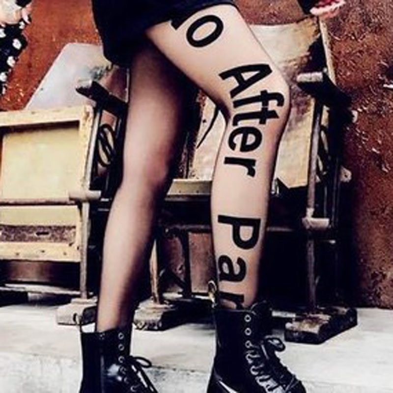 Women Black Printed Letter Tights No After Party Transparent Pantyhose Sheer Footed Pantyhose Silk Dance Stockings