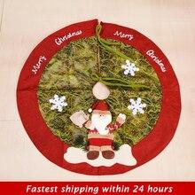 90 см Рождественская елка юбка красная елка ковер год веселое Рождественское украшение Рождественский коврик для елки Falda Arbol Navidad
