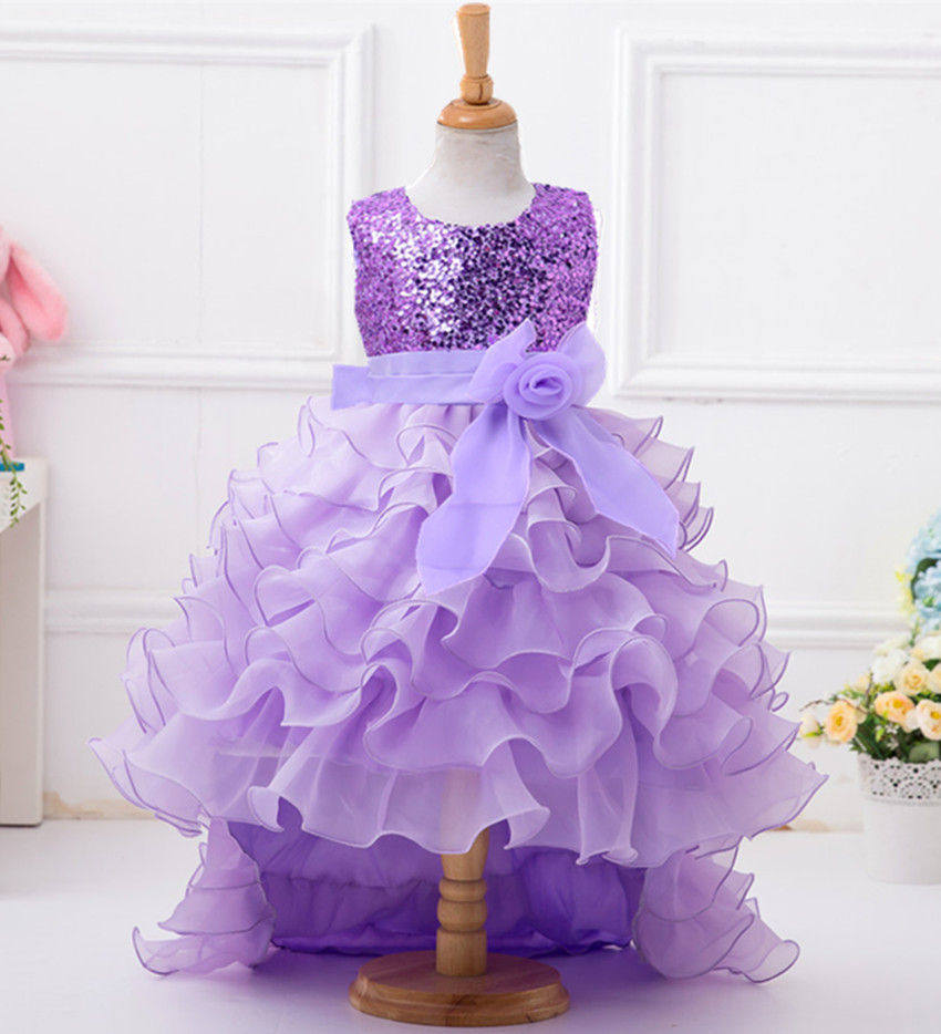 Pretty Tiered Purple Champagne Puffy Flower Girl Dresses 2019 High Low Organza Sequins Communion Pageant Dress For Little Girls