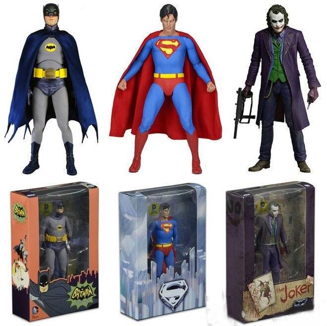 "NECA 7 ""CC Comics Batman Superman Joker figura de acción clásica colección juguete de figurita de PVC"