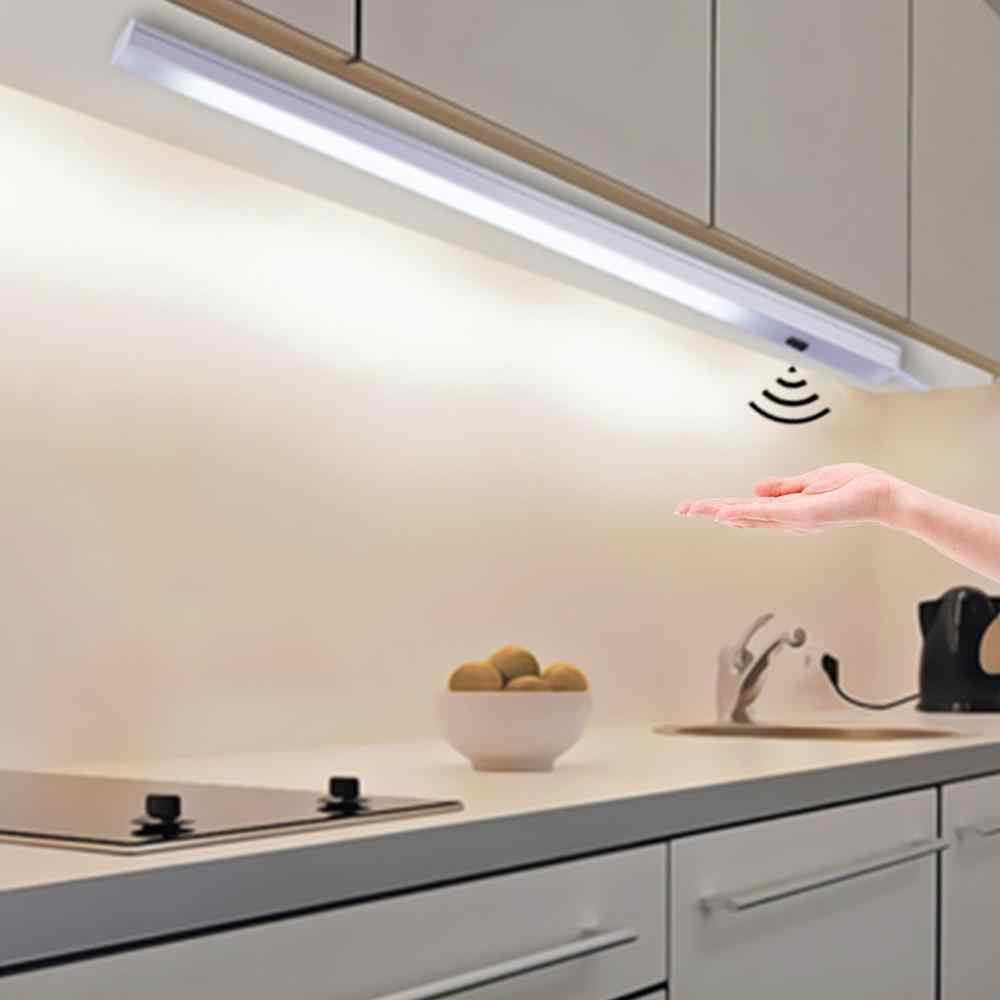 Светодиодный светильник под шкаф с датчиком развертки, светодиодный светильник 30, 40, 50 см, прикроватный кухонный шкаф, белый/теплый белый цвет, Сменное освещение