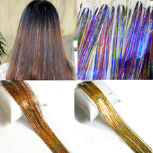 37 Hair Tinsel 150 Strands Spark Bling For Girls And Party 5pcs/lot Free Shipping