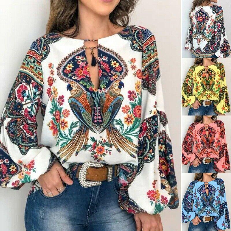 S-5XL Women Boho Floral V-Neck Long Lantern Sleeve Oversize Blouse T Shirt Tops Fashion Print Top T-Shirt