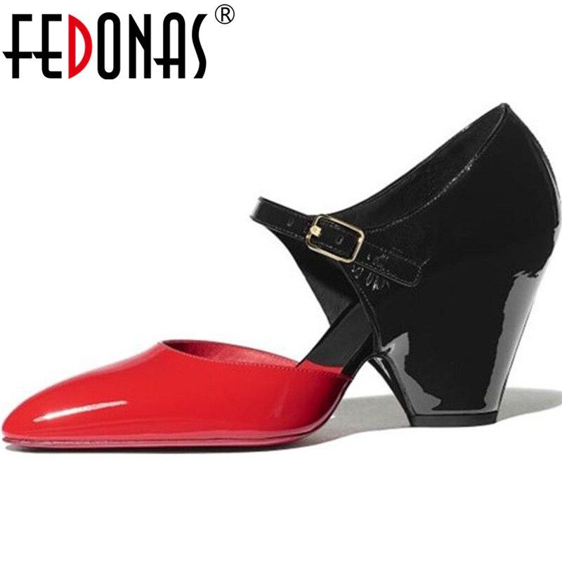FEDONAS Sexy Spike Heels Pumps Genuine Leathder Metal Buckle Women Shoes 2020 Newest Summer Autumn Night Club Retro Shoes Woman
