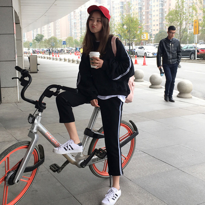 Korean-style Sports Leisure Suit Spring And Summer WOMEN'S Dress-Style Thin Hoodie Tops Capri Pants Students Two-Piece Set