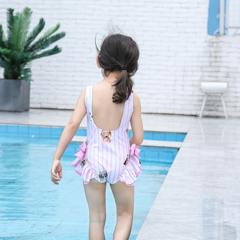 Cute Bow GIRL'S One-piece Swimming Suit CHILDREN'S Swimwear Hipster Sweet Hot Springs Swimwear