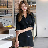 2019 Autumn Formal Office Suits Women Half Sleeve Elegant Solid Fitted Mini Silm Pencil Dress Notched Neck OL Bodycon Vestidos